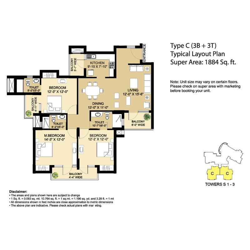 Type - C (3B + 3T) Super Area
